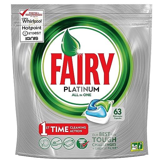 Fairy Platinum Cápsulas de Lavavajillas - 3 packs x 63 unidades ...
