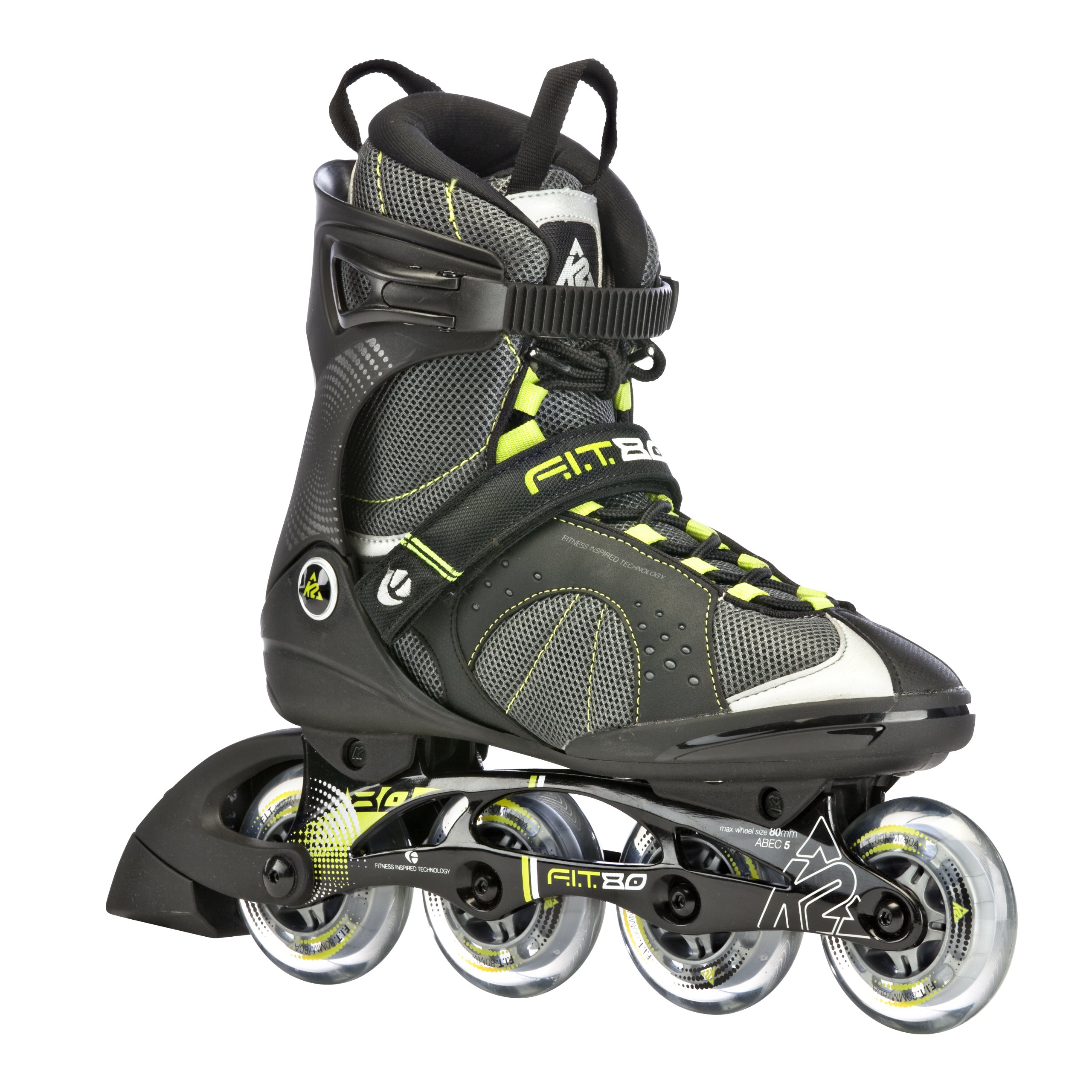 K2 Sports Men's F.I.T. 80 Fitness 2012 Inline Skates (Grey/Green, 9)