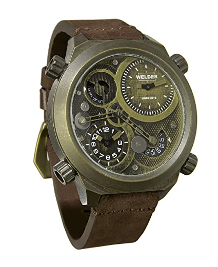 Para hombre reloj infantil de cuarzo con soldador marrón esfera analógica y correa de piel color marrón K50-400: Amazon.es: Relojes