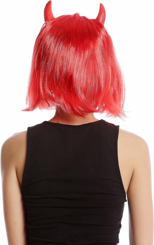 91421-ZA13 Peluca Mujer Carnval Halloween diablesa Diablo Bob Corto Rojo Longbob Cuernos Rojos WIG ME UP