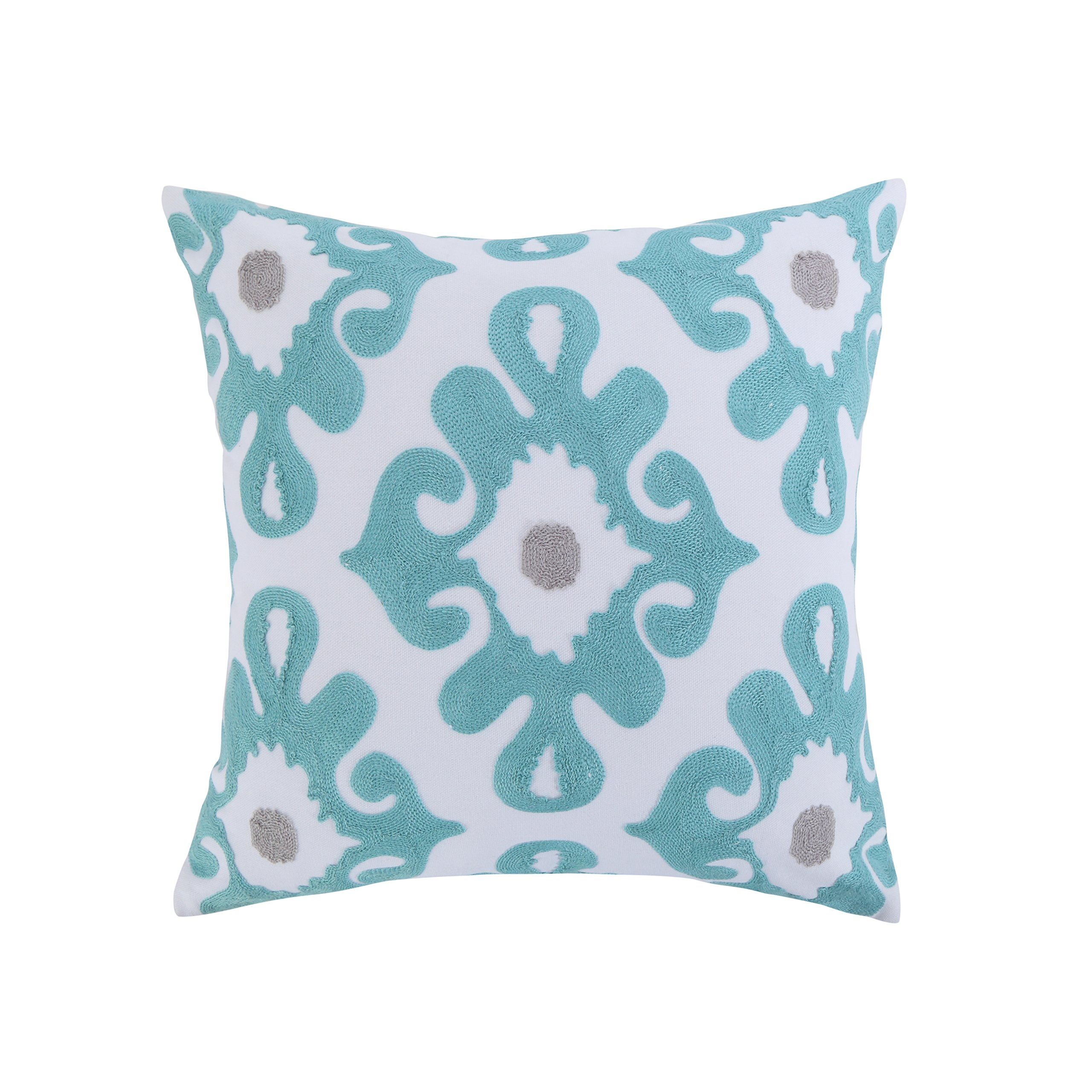 Levtex Spa Pintuck Embroidered Teal Grey Pillow