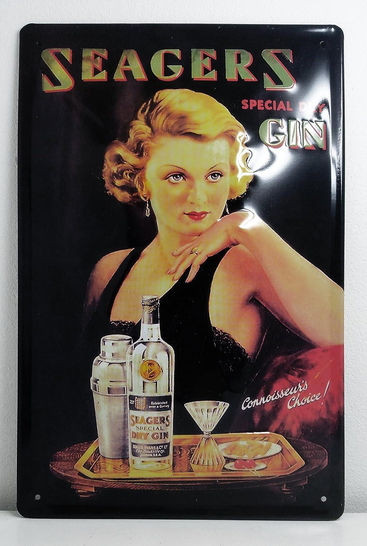 Original Seagers Special Dry Gin Deko Brand Nostalgic Retro Metal Plate Seagers Gin Targa da Parete 20 x 30 cm