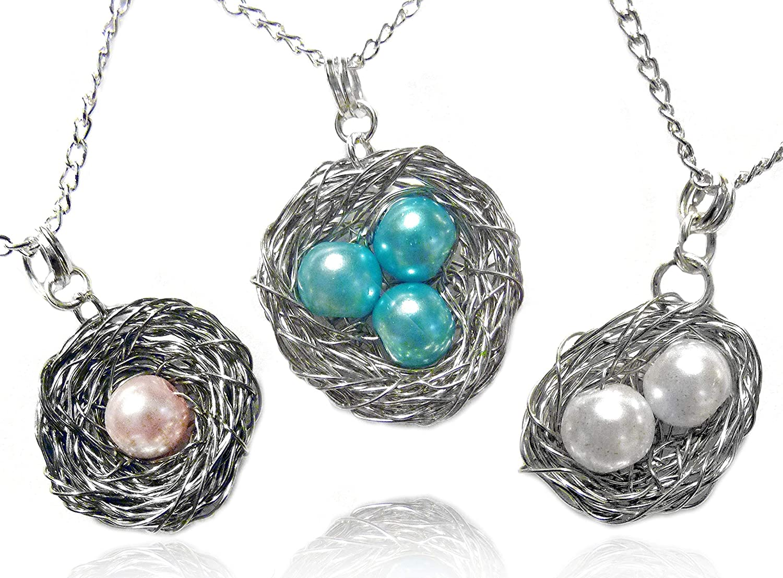 Rustic Pendant Woodland Necklace Turquoise Nest Pendant For Mom Bird Nest Necklace Meaningful Gift Birds Nest Pendant