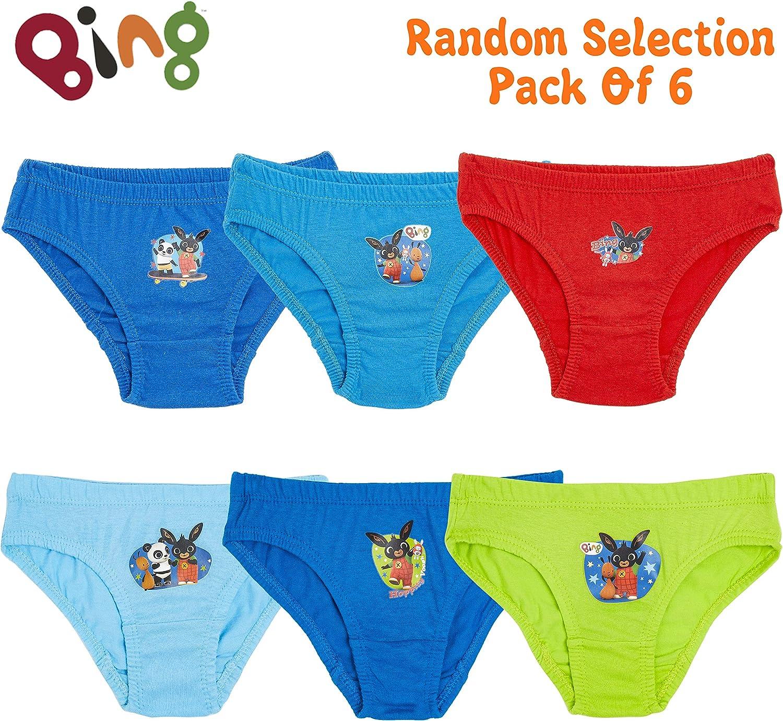 Bing Bunny 3 colori casuali 100/% morbido cotone per ragazzi idea regalo per bambini dai 18 mesi ai 5 anni Confezione da 6 slip con stampa dei cartoni animati