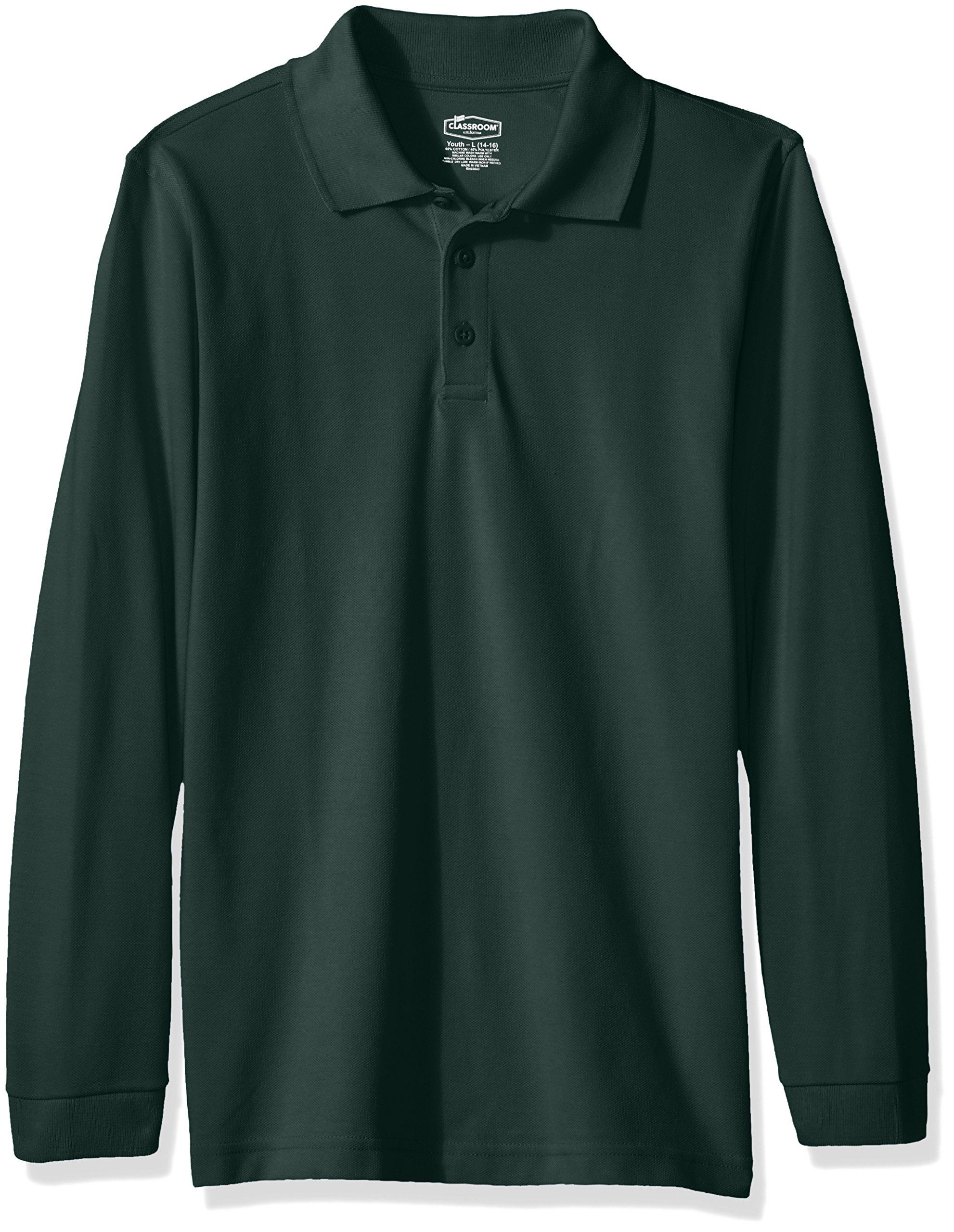 Classroom Big Kids Boys' Uniform Long Sleeve Pique Polo, Sos Hunter Green, L