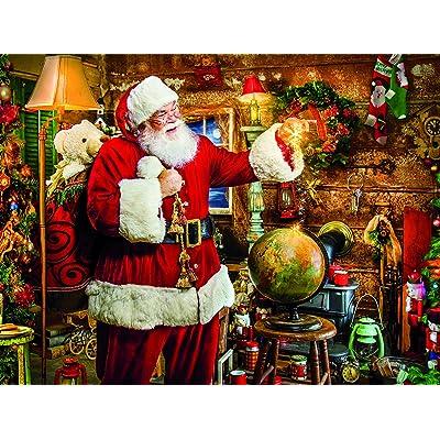 Ceaco Tis The Season Santa Puts Presents Under Tree Jigsaw Puzzle (550 Pieces): Toys & Games