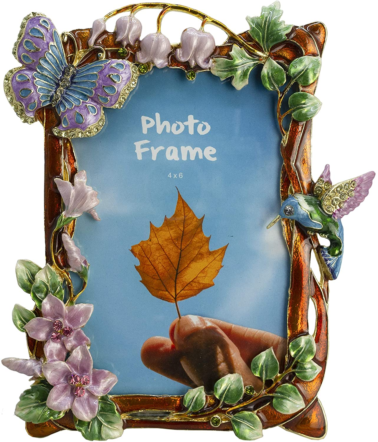 Tricune Picture Frame 4x6, Vintage Photo Frame Made of Pewter Metal and High Definition Glass for Table Top Display Home Decor, Retro Photo Frame