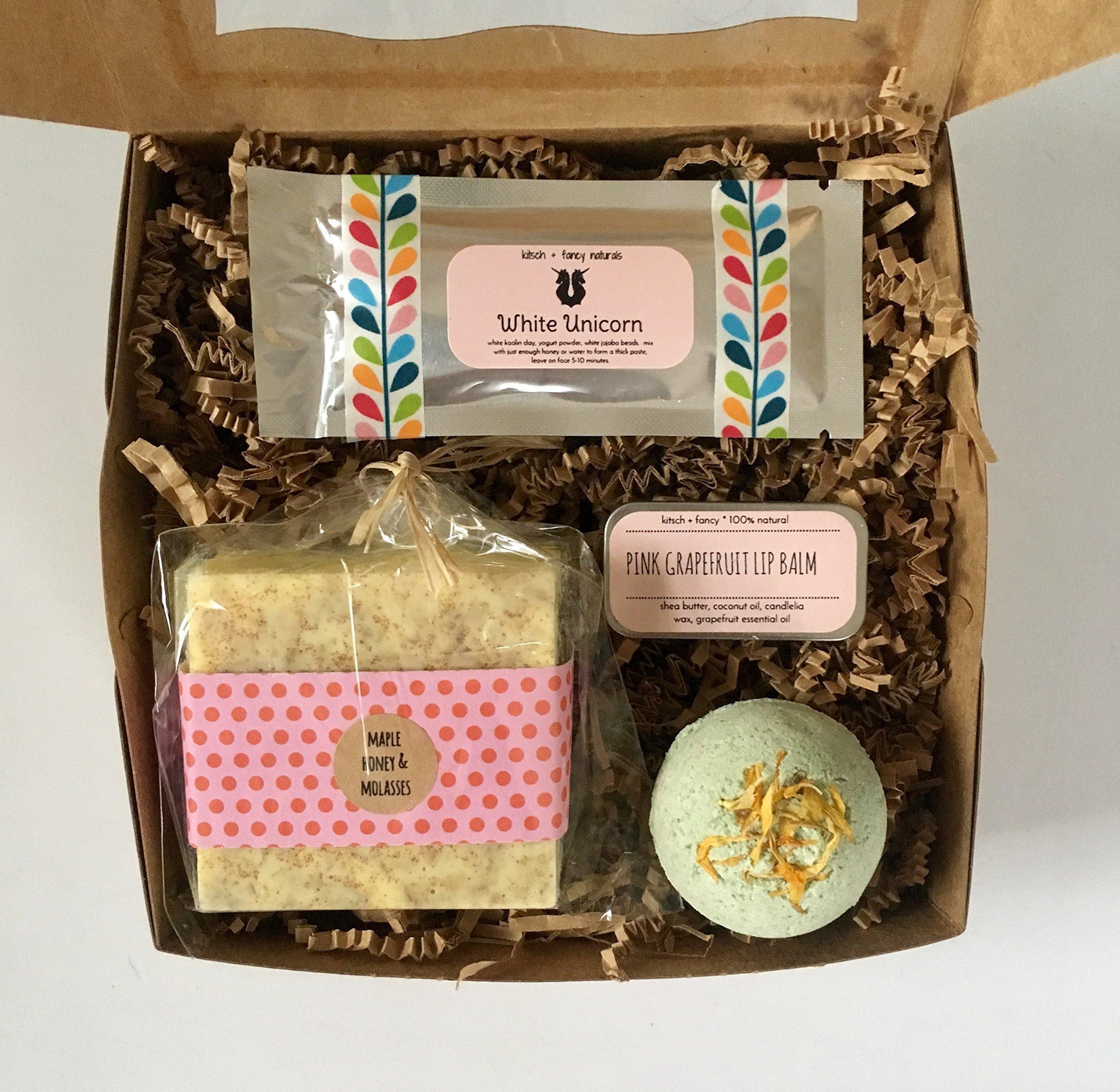 Spa Gift Box: includes handmade soap bar, bath bomb, lip balm, and face mask