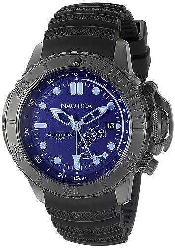 Nautica Reloj de Buceo con nad52500g NMX Estilo Cristal Azul analógico de Cuarzo Negro para Hombre: Amazon.es: Relojes