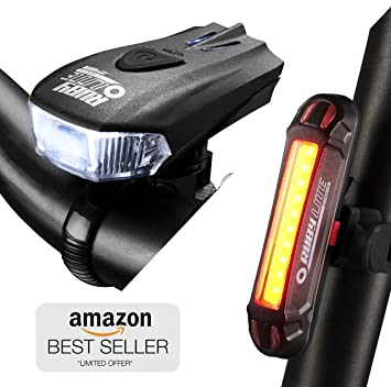 7306e8f572d RUBY LITE Bike Light Set USB Rechargeable LED - Powerful 400 Lumen Front  Headlight & 100 LM Tail Light - Bicycle Lights ...