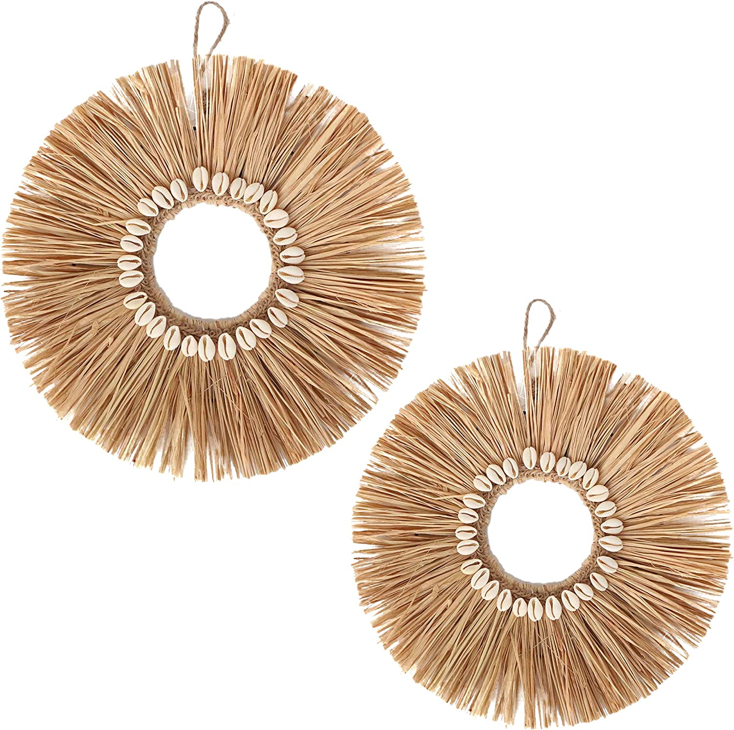 """Boho Wall Decor made from Fringe Raffia and White Sea Shells, Shabby Chic Rustic Home Decorations and hanging Wall Accents for Living Room. Match with bamboo room decor and furniture - 2-pieces are 13"""" & 11.5"""" by Lollici Designs"""