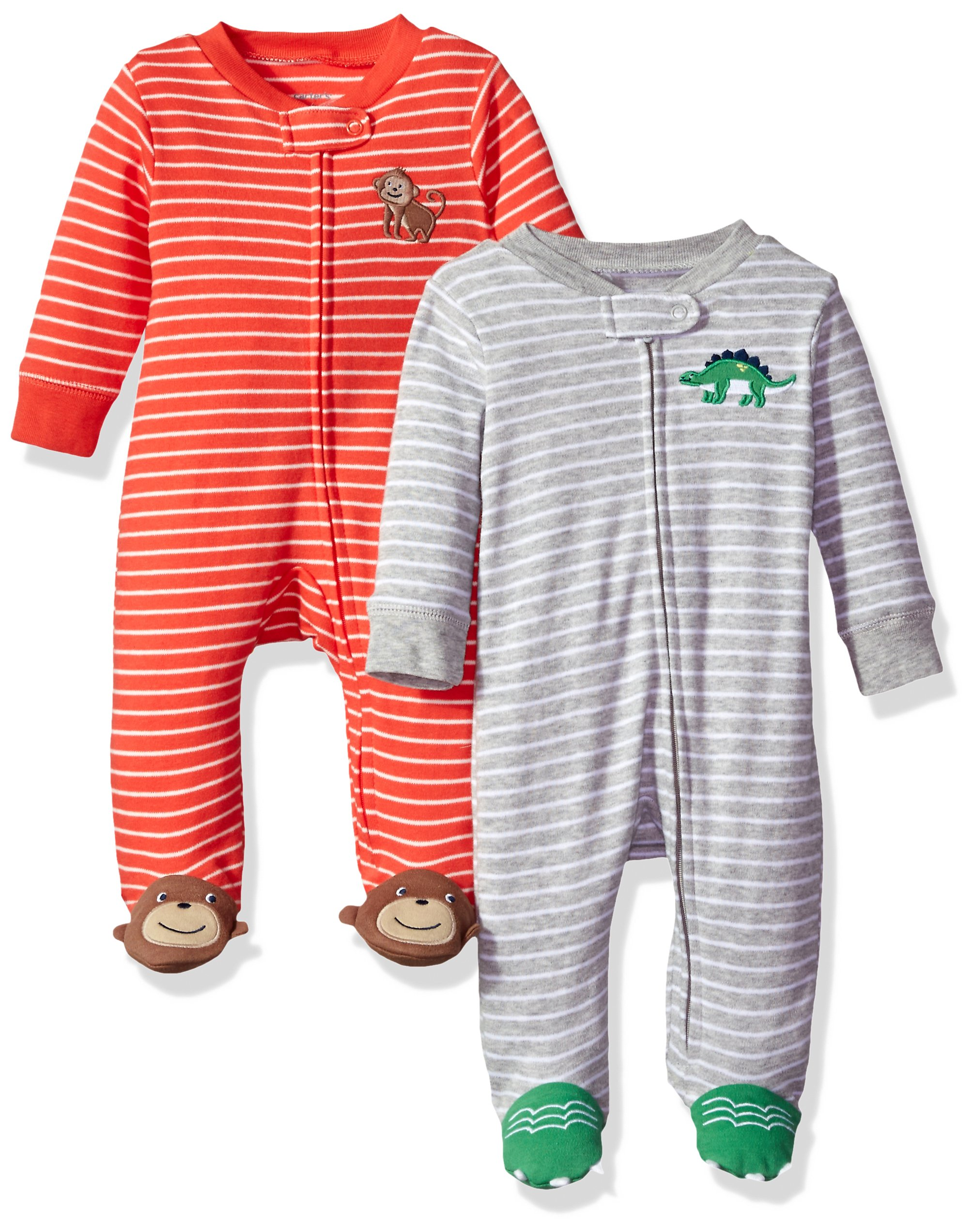 Carter's Baby Boys' 2-Pack Cotton Sleep and Play, Dino/Monkey, 6 Months