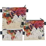 Reusable Sandwich & Snack Baggies by ART OF LUNCH - Set of 3 Designer Sandwich Bags - A Partnership with Artists Around the World - Design by Mark Ashkenazi (Israel) - World Map
