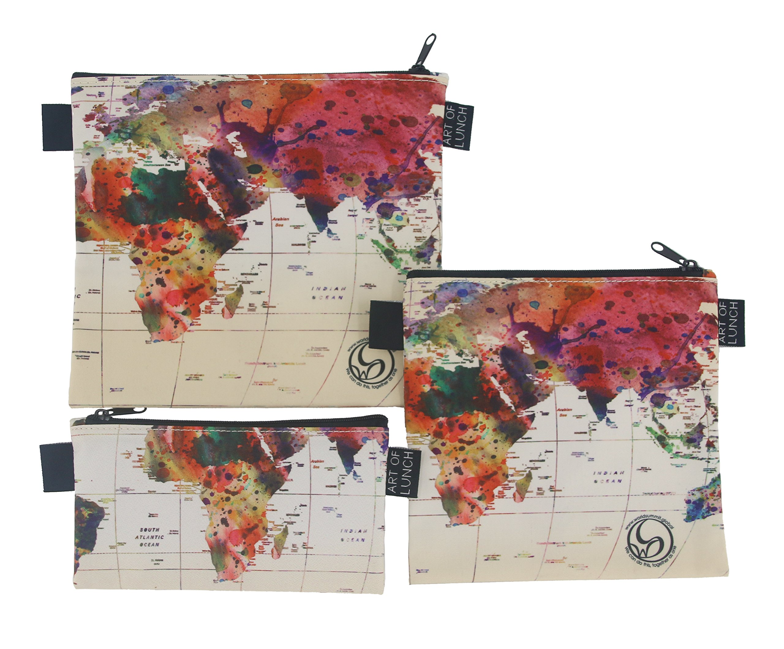 Designer Lunch Bags for Men & Women, Boys & Girls, Fashionable, Reusable, Snack & Sandwich Bags w Zipper - Design by Mark Ashkenazi (Israel) - World Map