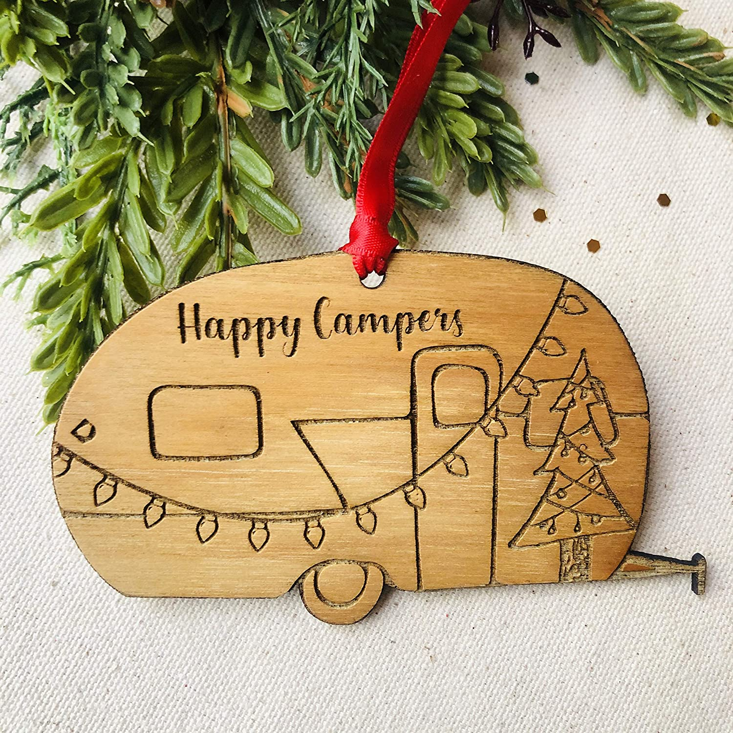 Airstream Motorhome Wood Ornament Engraved