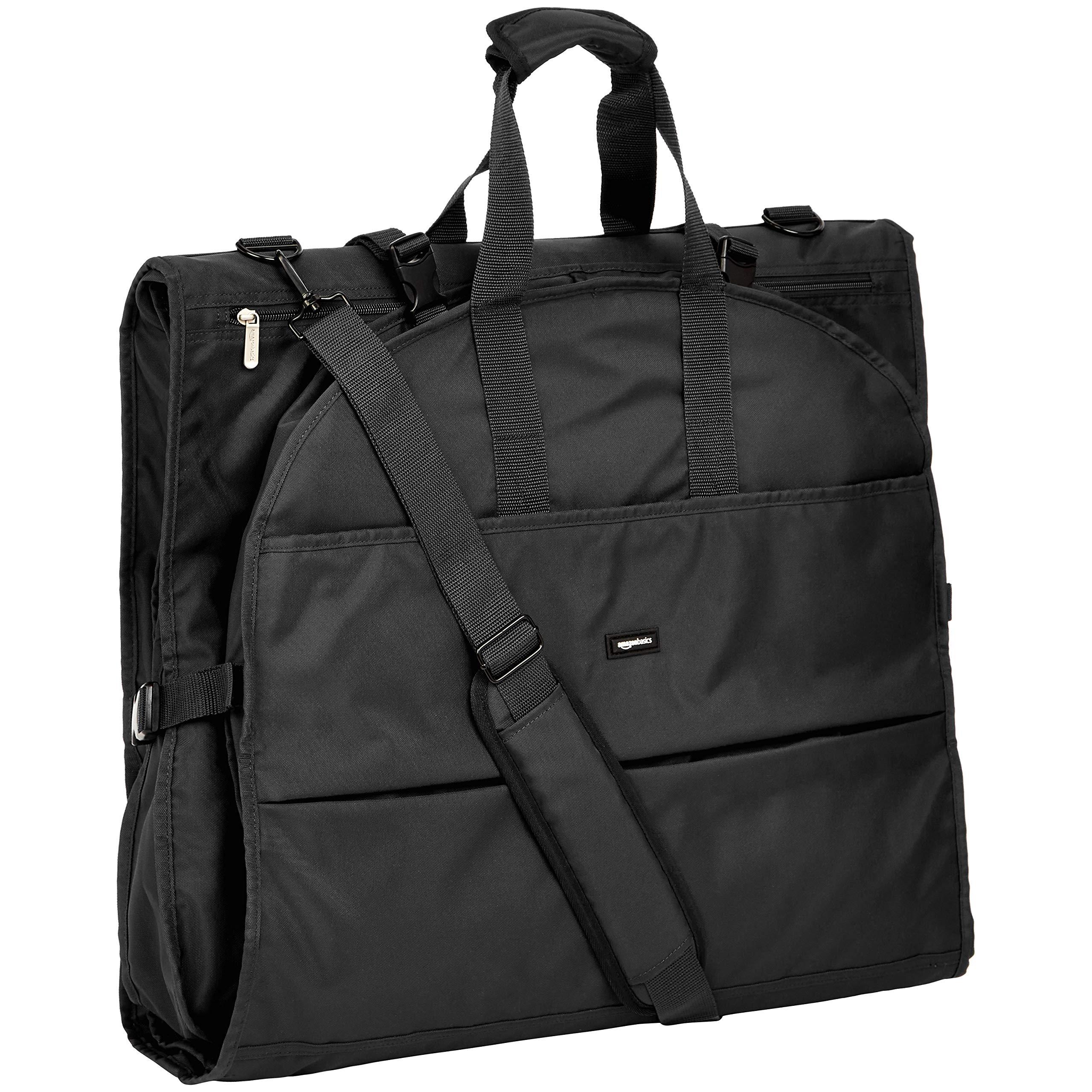 Amazon Basics Premium Tri-Fold Travel Hanging Garment Bag - 23.5 Inch, Black