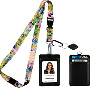 Claude Monet The Artist's Garden at Vétheuil Print Lanyard with PU Leather ID Badge Holder Wallet with 3 Card Pockets, Safety Breakaway Clip. Gift of Carabiner Keychain Flashlight.