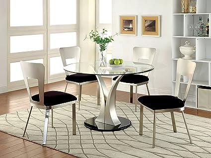 Furniture Of America Maiorga II 5 Piece Round Glass Top Dining Set