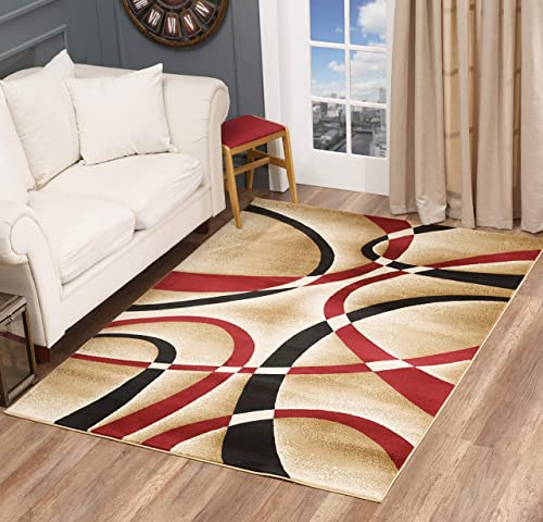 Glory Rugs Modern Area Rug Swirls Carpet Bedroom Living Room Contemporary Dining Accent Sevilla Collection 4816 8×10