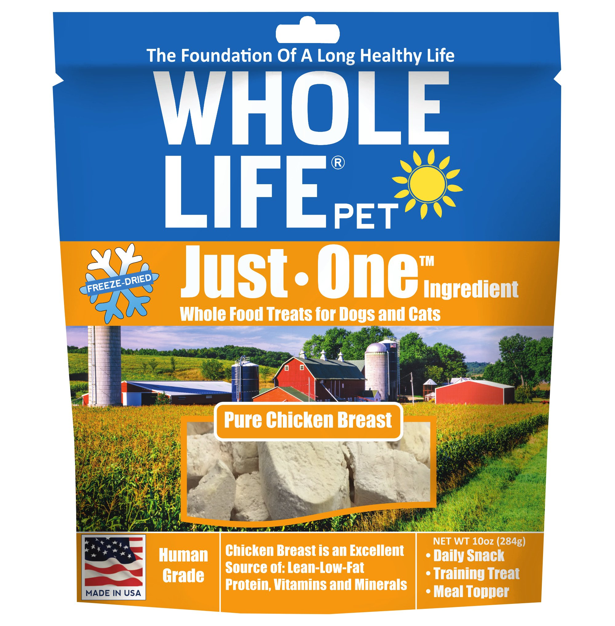 Whole Life Pet Single Ingredient Usa Freeze Dried Chicken Breast Treats Value Pack For Dogs And Cats, 10-Ounce by Whole Life Pet Products