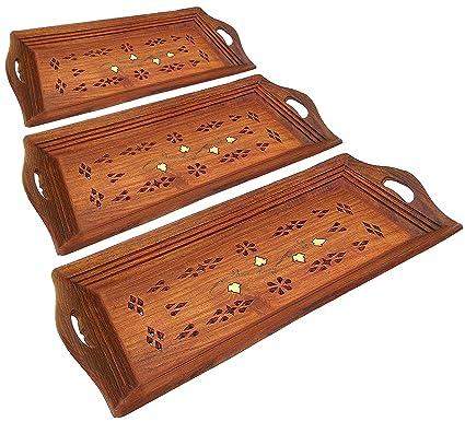 SKAVIJ Bandeja de madera que sirve el conjunto de 3 para el café de la cocina