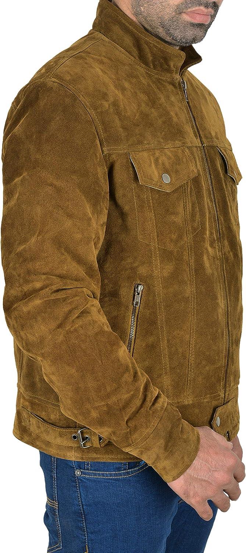 Trucker New Men Real Suede Leather Jacket Classic Western Motorcycle Biker Style 1345
