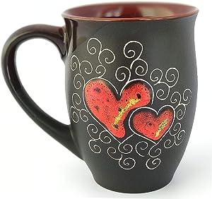 Pottery coffee mug handmade «Red Heart» 16.9 fl oz
