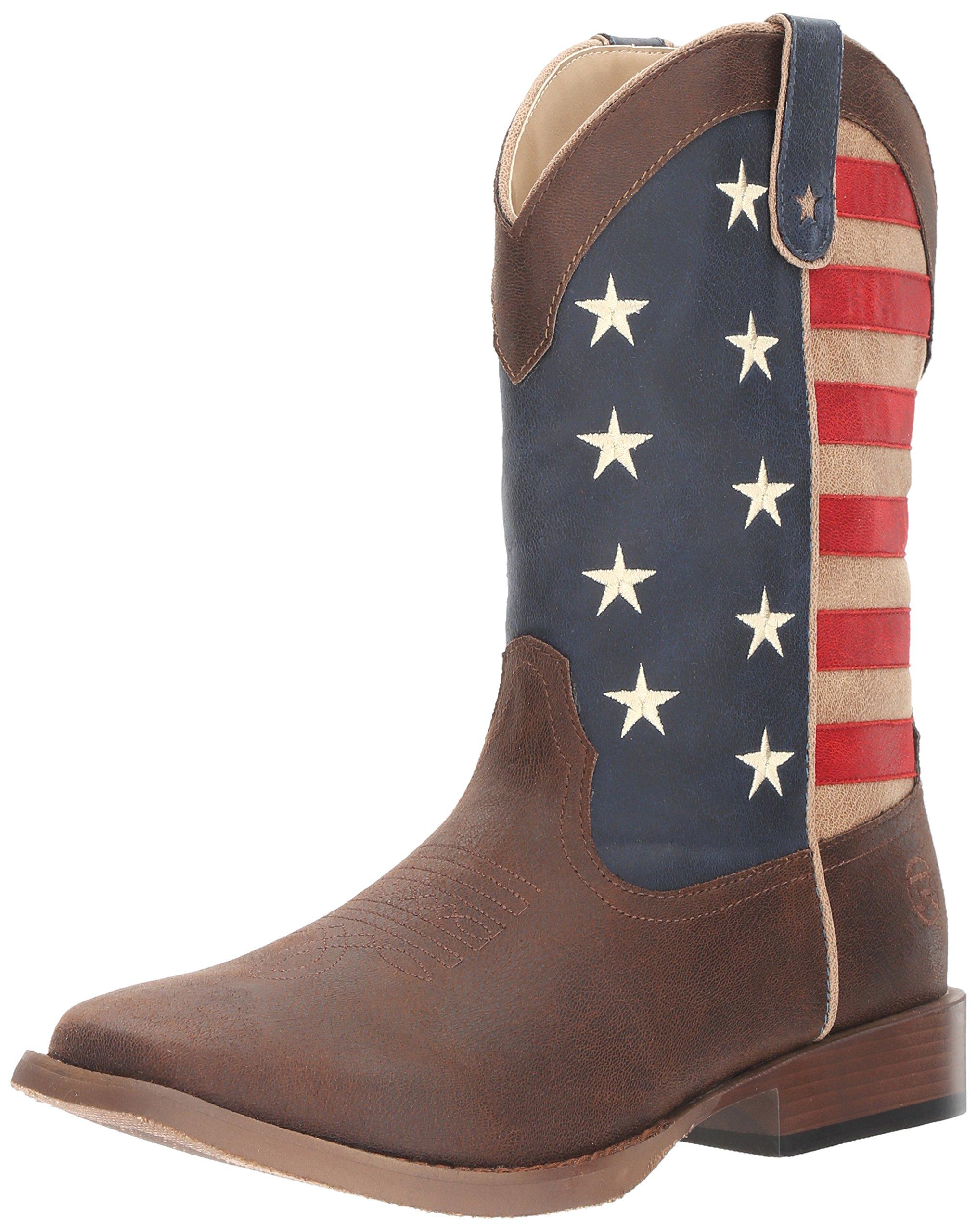 Roper Men's American Patriot Western Boot, Brown, 11 D US