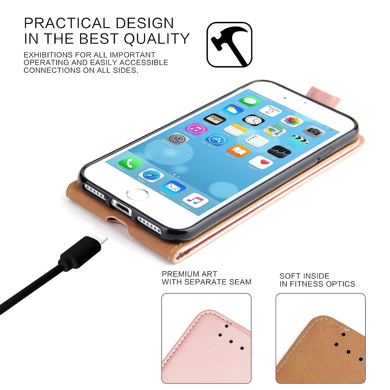 Coque iPhone 8 Supad Etui /à rabat protecteur en cuir v/éritable pour Apple iPhone 7//8 4,7 Noir Coque iPhone 7