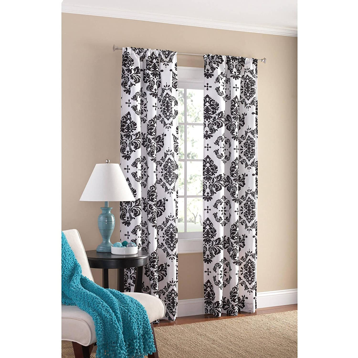 Black and white curtains - Amazon Com Black And White Damask Curtain Panel Set Of 2 40x84 Inch Home Kitchen