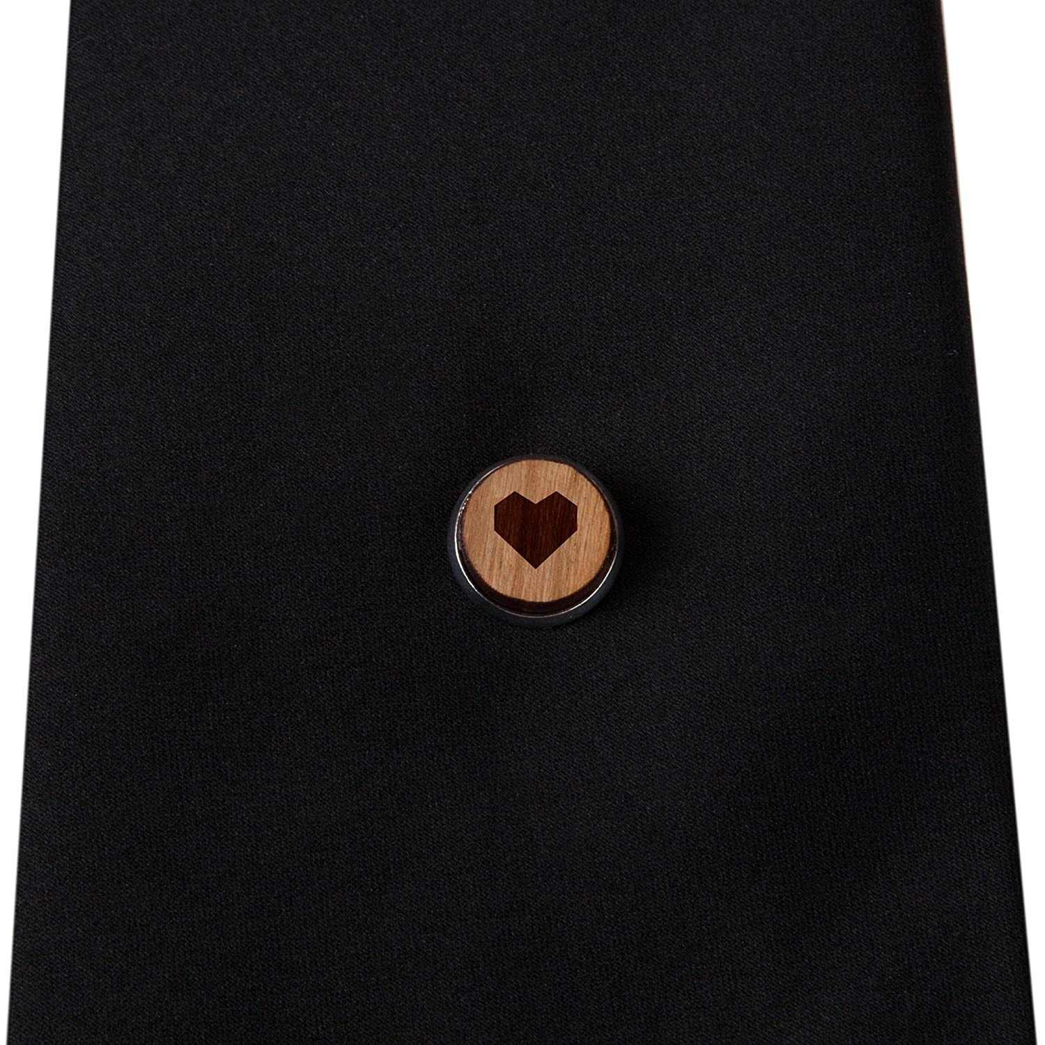 Origami Heart Stylish Cherry Wood Tie Tack 12Mm Simple Tie Clip with Laser Engraved Design Engraved Tie Tack Gift