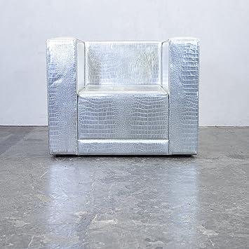 philipp plein designer sessel leder silber krokodilmuster couch modern echtleder 3818