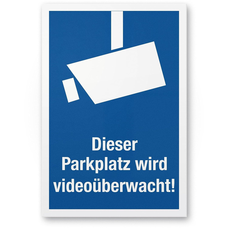 Este Aparcamiento se videoüberwacht Helvetica Condensed Marco Blanco (Formato Vertical pictograma)