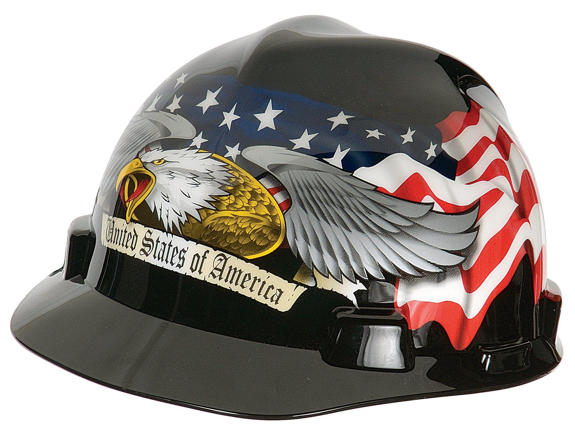 MSA 10079479 V-Gard Hard Hat Front Brim with Ratchet Suspension, Standard, American Eagle by MSA (Image #2)