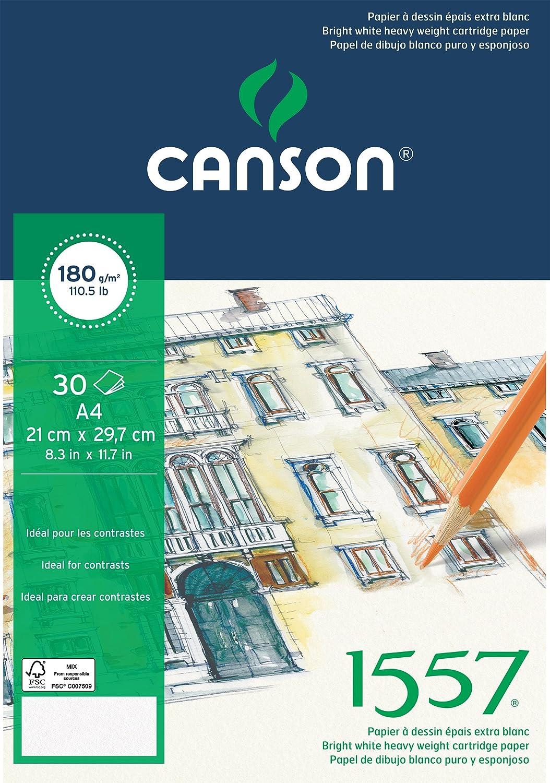 Canson 204127415 1557 Zeichen-und Skizzenpapier, A3, rein weiß rein weiß