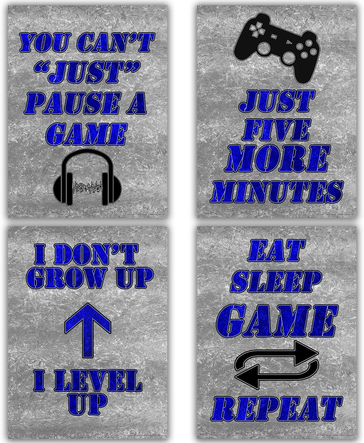 Canvas Gaming Art 12x16 | Gamer Posters Wall Decor Video Game Poster for Teen Boys Bedroom Decorations for Teenager boy Gaming Pictures for Wall Blue and Gray Prints Gamer Canvas (Blue and Gray)