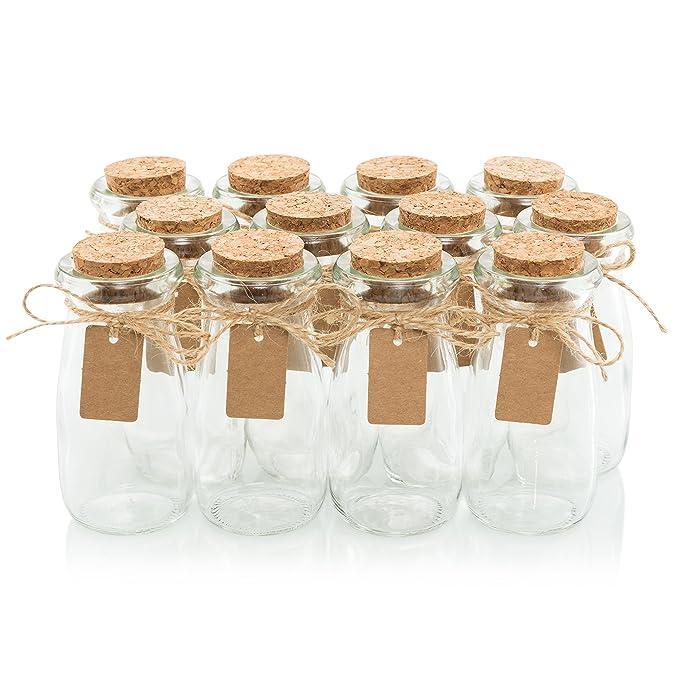Cristal favor tarros con tapas de corcho - de altura botella de leche [12pc juego de Bulk] incluye etiquetas y Cadena - 3.4oz - boda y fiesta: Amazon.es: ...