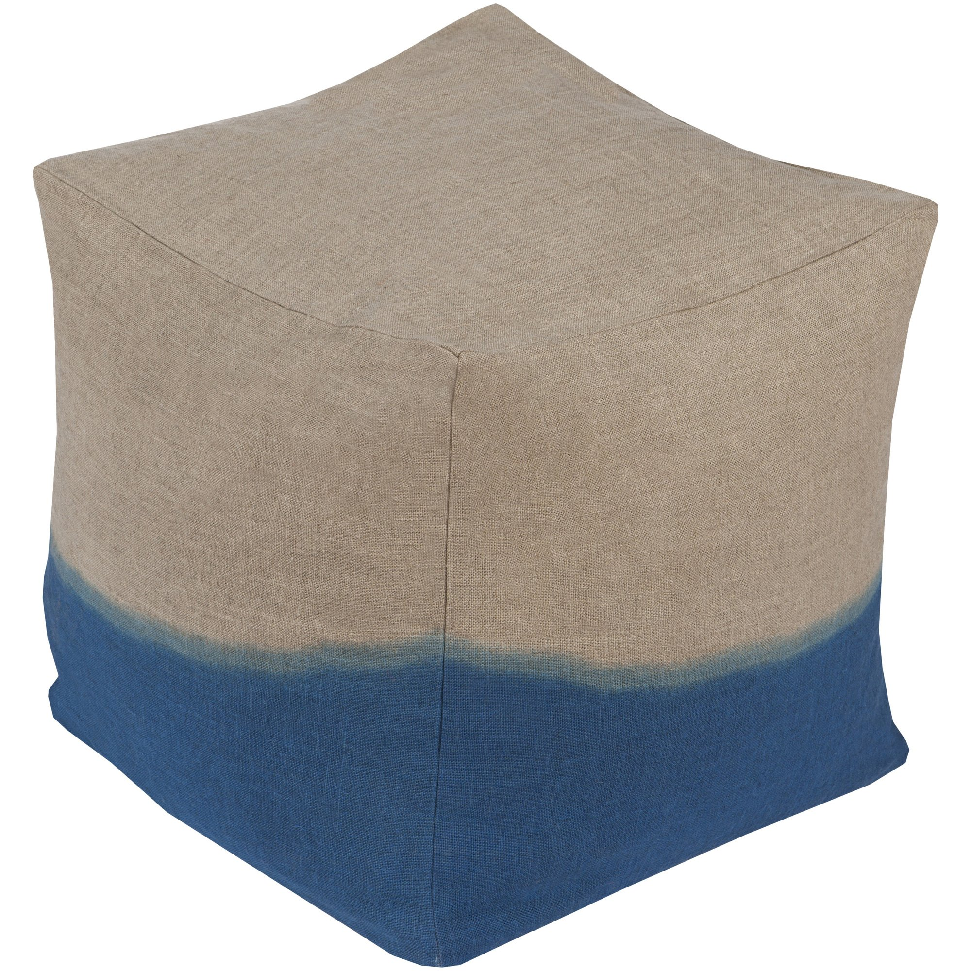 Surya DDPF001-181818 100-Percent Linen Pouf, 18-Inch by 18-Inch by 18-Inch, Light Gray/Teal