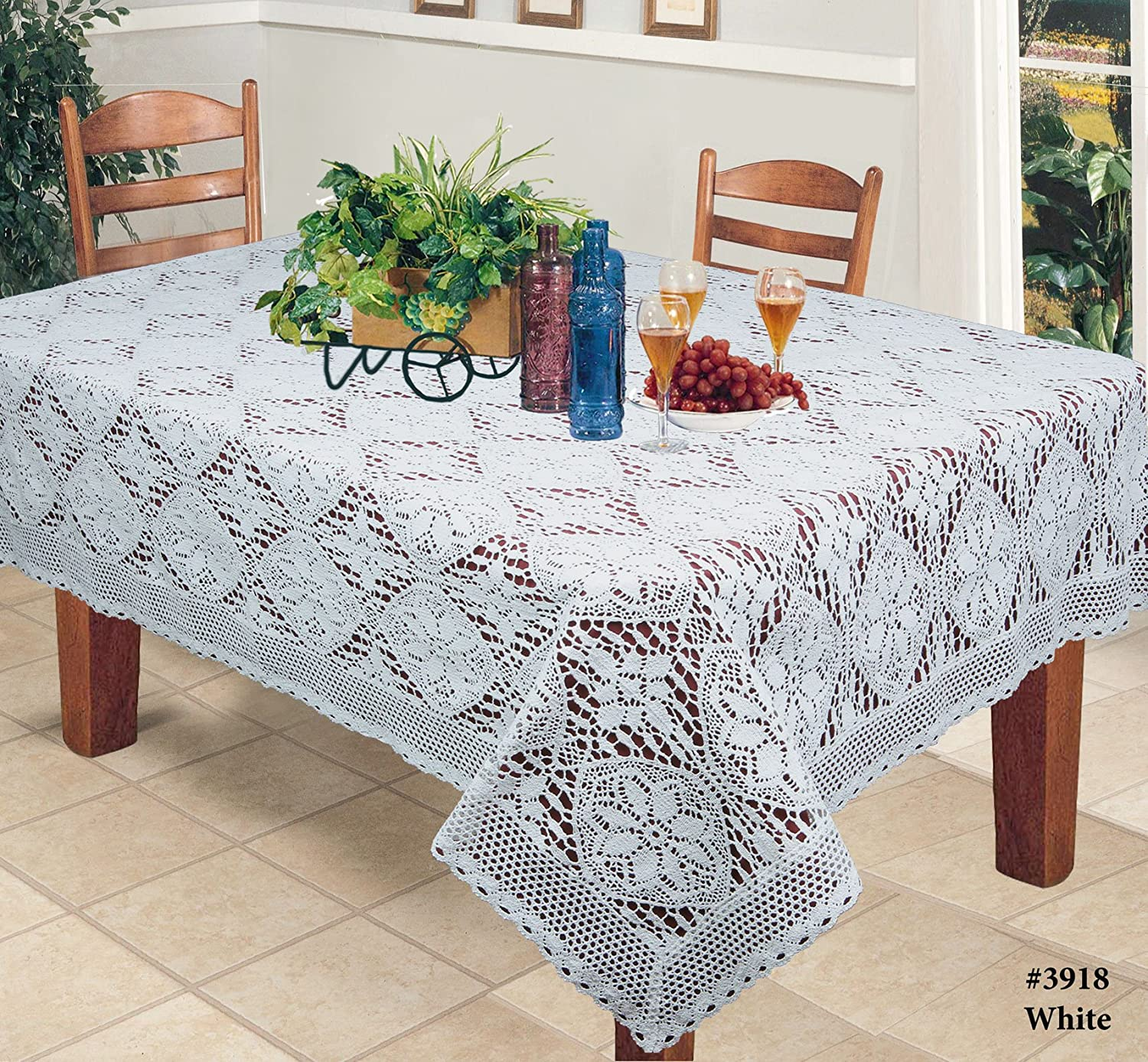 "Amazon Crochet Lace Tablecloth 60x120"" Rectangular Knitted"