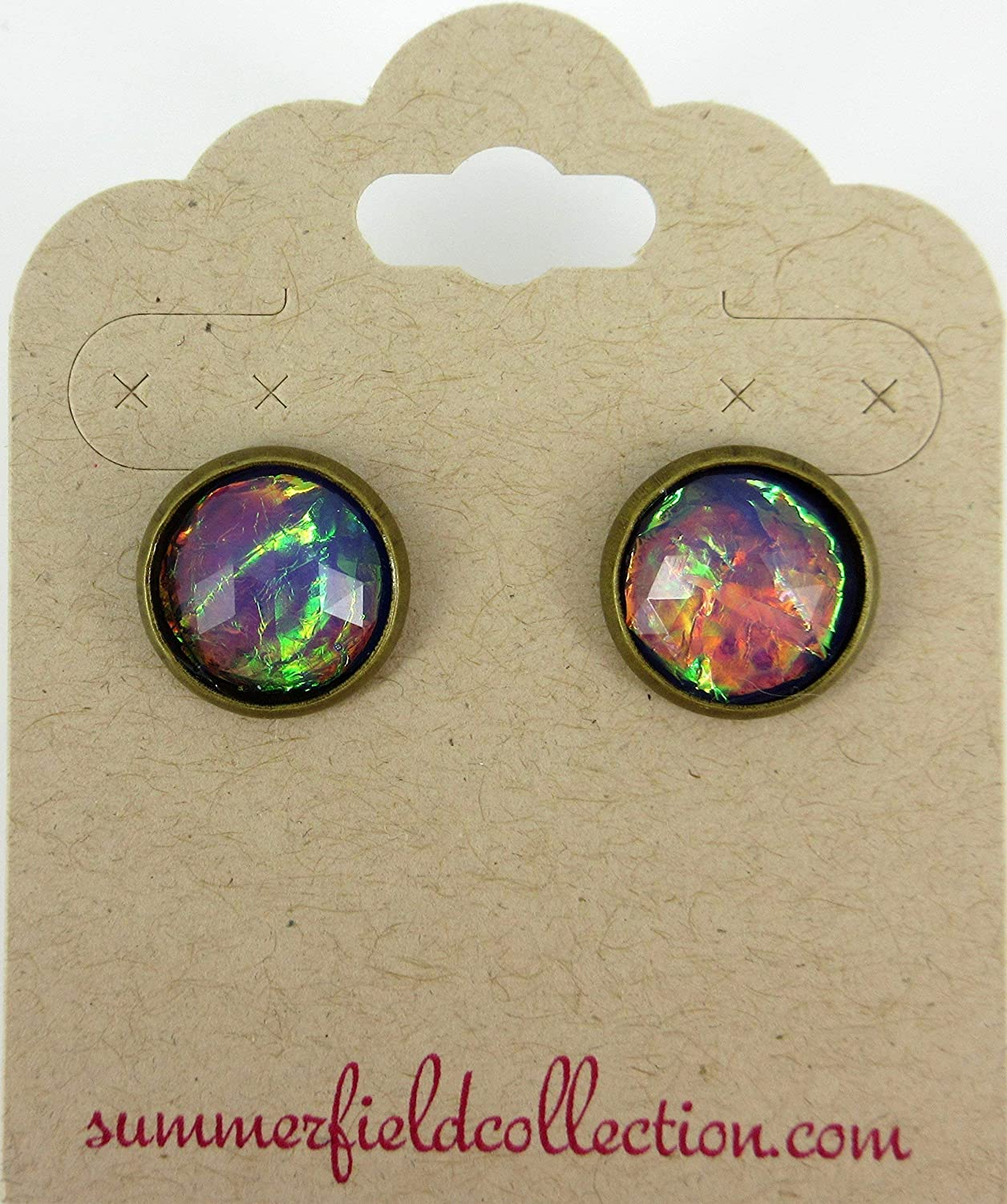 Antiqued Gold-tone Purple Faceted Resin Opalescent Stud Earrings 12mm