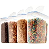 4 Pack Airtight Cereal & Dry Food Storage Container - BPA Free Plastic Kitchen and Pantry Organization Canisters for, Flour,