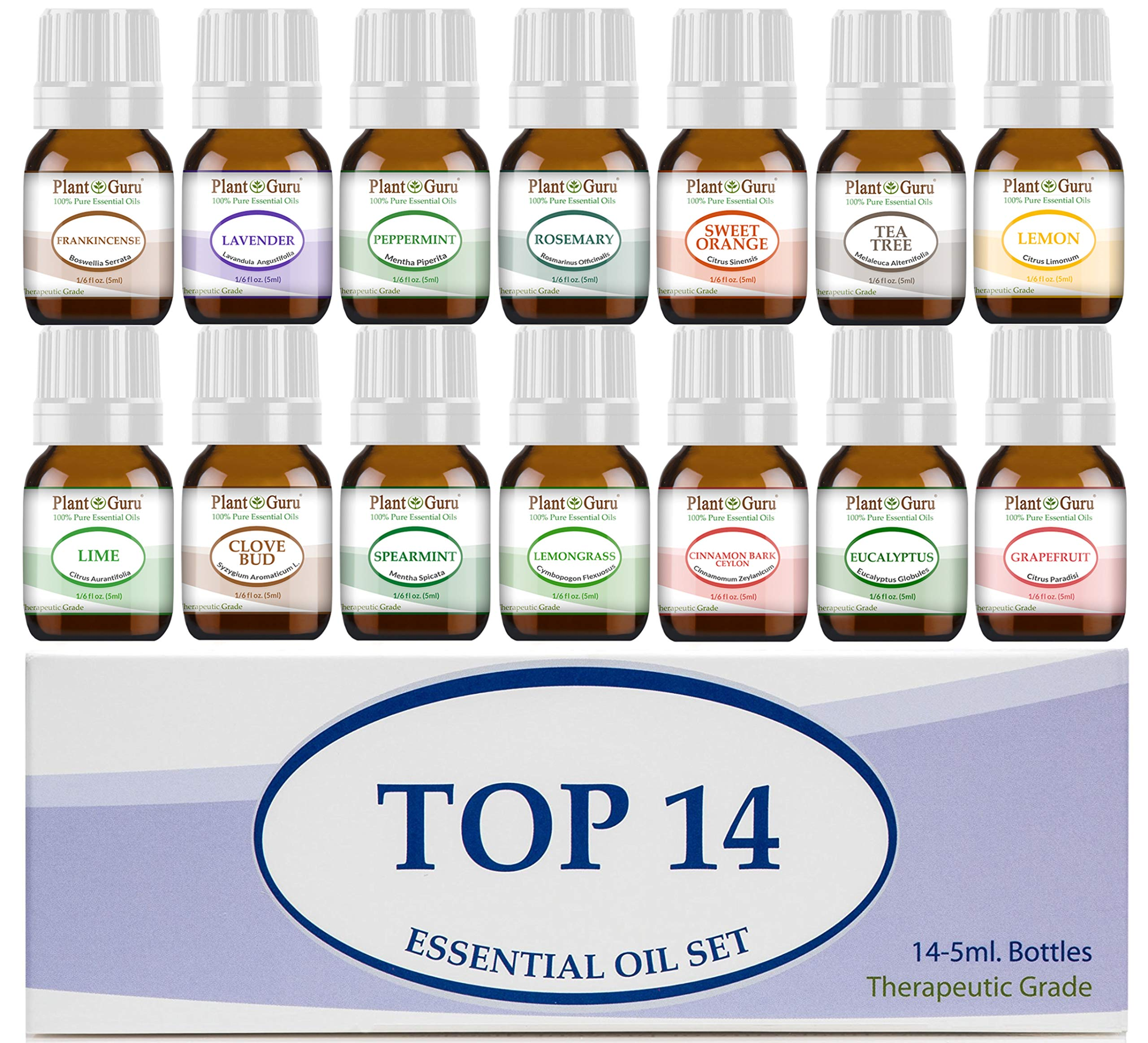 Essential Oil Set 14-5 ml Therapeutic Grade 100% Pure Frankincense, Lavender, Peppermint, Rosemary, Orange, Tea Tree, Eucalyptus, Grapefruit, Lemon, Lime, Clove, Spearmint, Lemongrass, Cinnamon by Plant Guru