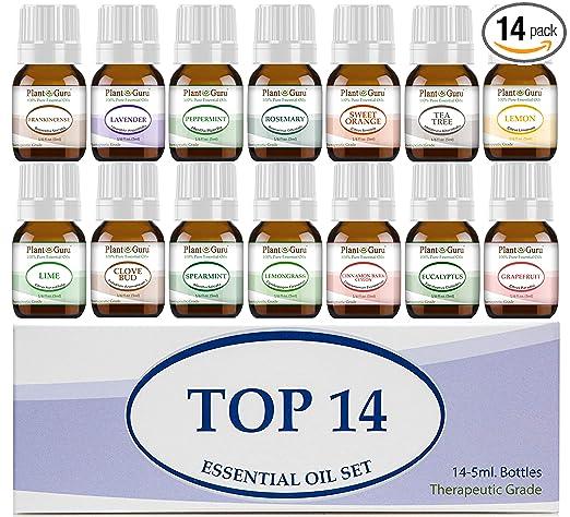 Essential Oil Set 14-5 ml Therapeutic Grade 100% Pure Frankincense, Lavender, Peppermint, Rosemary, Orange, Tea Tree, Eucalyptus, Grapefruit, Lemon, Lime, Clove, Spearmint, Lemongrass, Cinnamon best essential oil kits