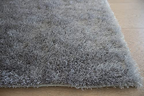LA Rug Linens Area Rug Carpet Rug Made in USA Shag Shaggy 8 x 10 Feet Non Slip Padded Large Size for Living Room Bedroom Dining Room Silver Light Gray Light Grey Color Plush Pile Solid Designer