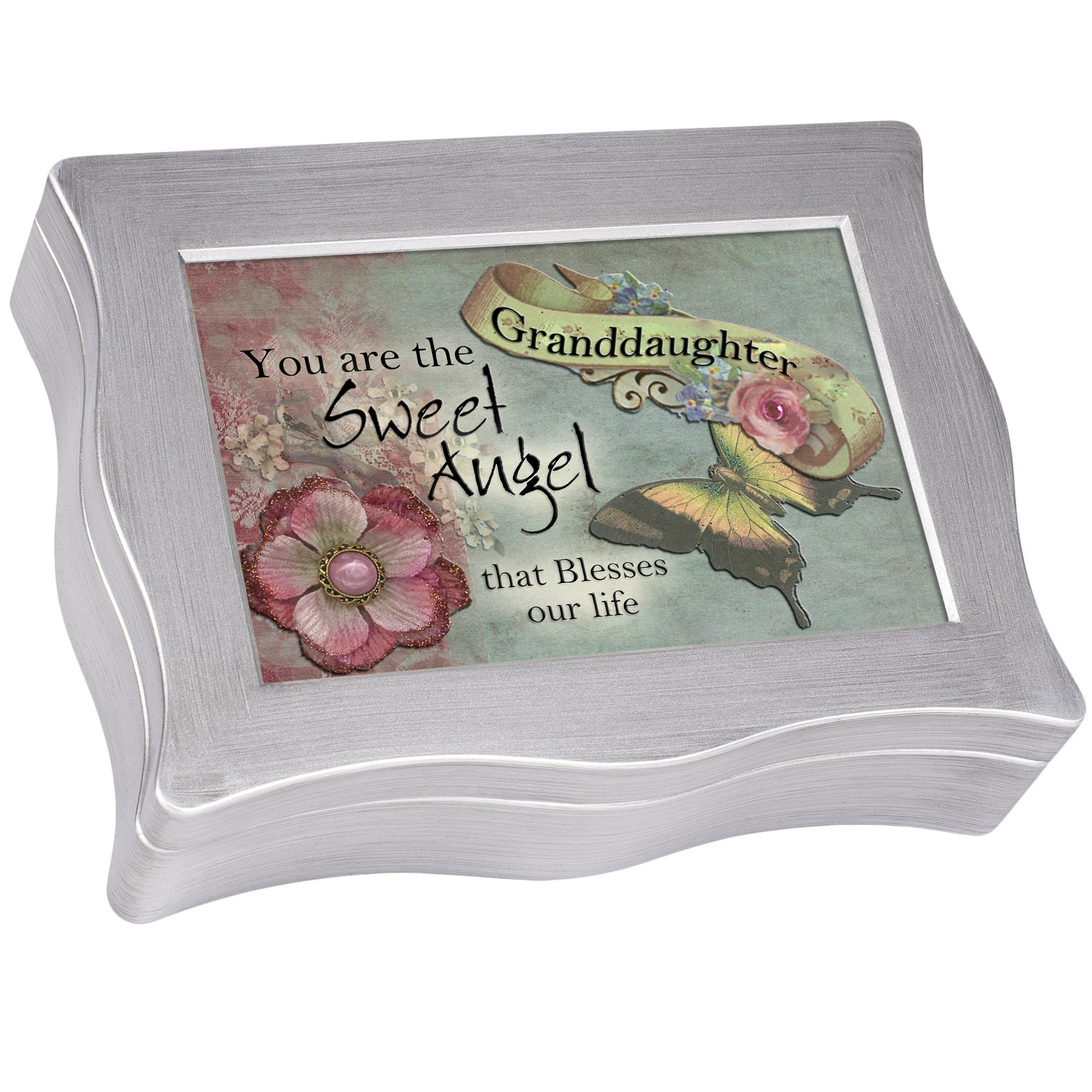 Cottage Garden Granddaughter You are Sweet Brushed Silvertone Jewelry Music Box Plays My Wish