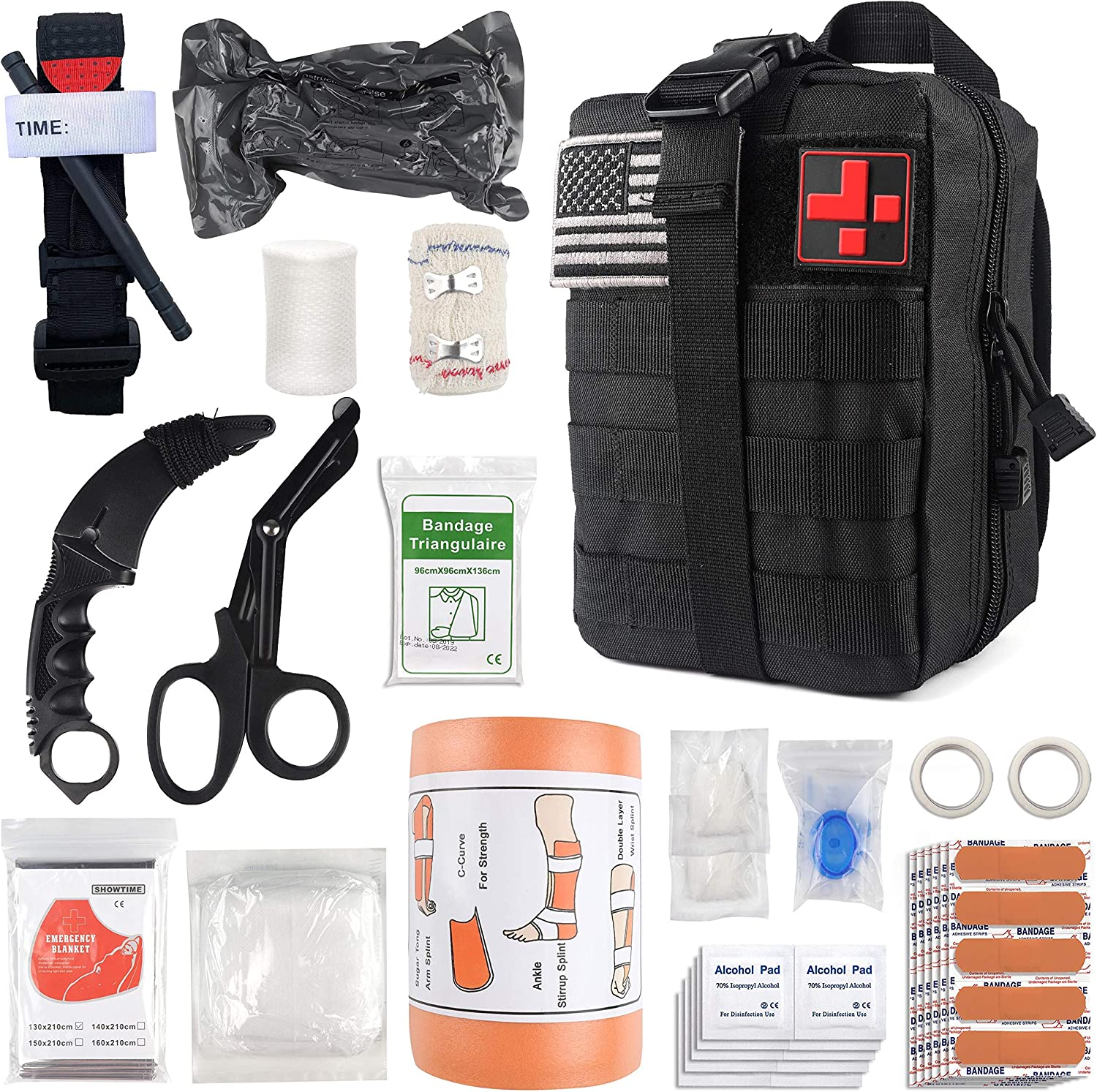 "Emergency Survival First Aid Kit with Tourniquet, 6"" Israeli Bandage, Splint, Military Combat Tactical Molle IFAK EMT for Trauma Wound Care, Battle, Bleeding Control and More (Black): Health & Personal Care"