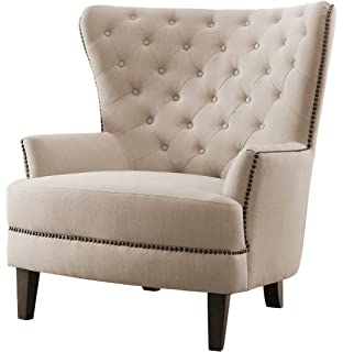 Homelegance Rhett Stylish Button Tufted Wingback Accent Chair With Nail  Heads Flared Arm, Cream