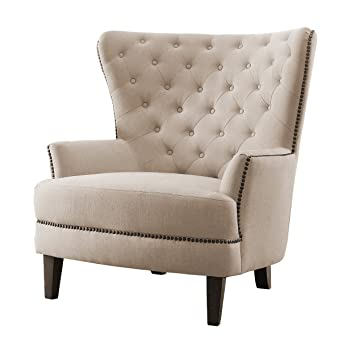 Merveilleux Amazon.com: Homelegance Rhett Stylish Button Tufted Wingback Accent Chair  With Nail Heads Flared Arm, Cream: Kitchen U0026 Dining