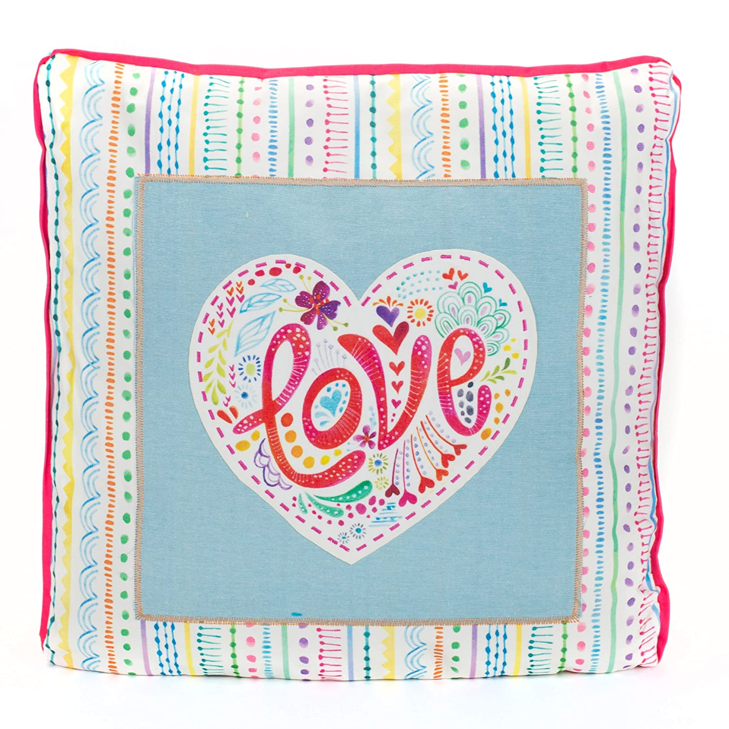 Love Watercolor Pattern Square 12 x 12 Inch Affirmation Throw Pillow