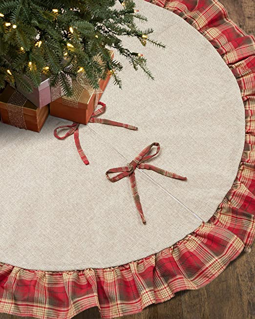 Round Diameter Sale OLYPHAN Burlap Christmas Tree Skirt Rustic Xmas Tree Skirts Red Plaid Ruffle /& Natural Brown Farmhouse Country Holiday D/écor Large 36 Inch 3 Ft